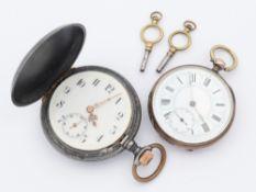 Taschenuhren 2 St., 1x Lepine-Gehäuse, Risse im Zifferblatt, Schlüsselaufzug, dazu passender