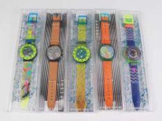 Swatch - Armbanduhren5 St, Schweiz, versch. Ausführungen, Fkt. ungepr., im OK
