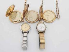 Konvolut5 St., 3 Taschenuhren , 2 davon Favor, alle 3 an Uhrenketten, 1x mit Etui, 2 H