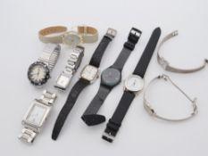 Armbanduhren 9 St., Swatch, Onsa, Citizen u.a., tlw. starke Tragesp., tlw. besch., Fkt. ungepr.
