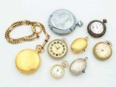 Konvolut8 St., 6x Taschenuhren, tlw. Lepine-, tlw. Savonettegehäuse, Fossil, Selecta,