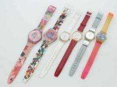 Swatch - Armbanduhren6 St., Schweiz, versch. Ausführungen, 1x fkt.tüchtig, 5x Fkt. u