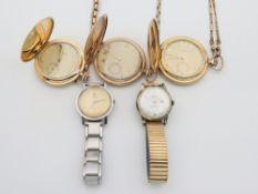 Konvolut 5 St., 3 Taschenuhren , 2 davon Favor, alle 3 an Uhrenketten, 1x mit Etui, 2