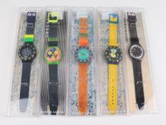 Swatch - Armbanduhren 5 St, Schweiz, versch. Ausführungen, 1x Automatic, fkt.tüchtig, 4x Fkt.