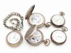 Taschenuhren5 St., 2x Savonette-Gehäuse u. 3x Lepine-Gehäuse, 1x mit Uhrenkette, tlw