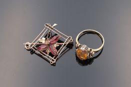 Edelmetallschmuck - Gold 2 St., 1x Damenring, ovaler Ringkopf, Si, wohl besetzt mit ei
