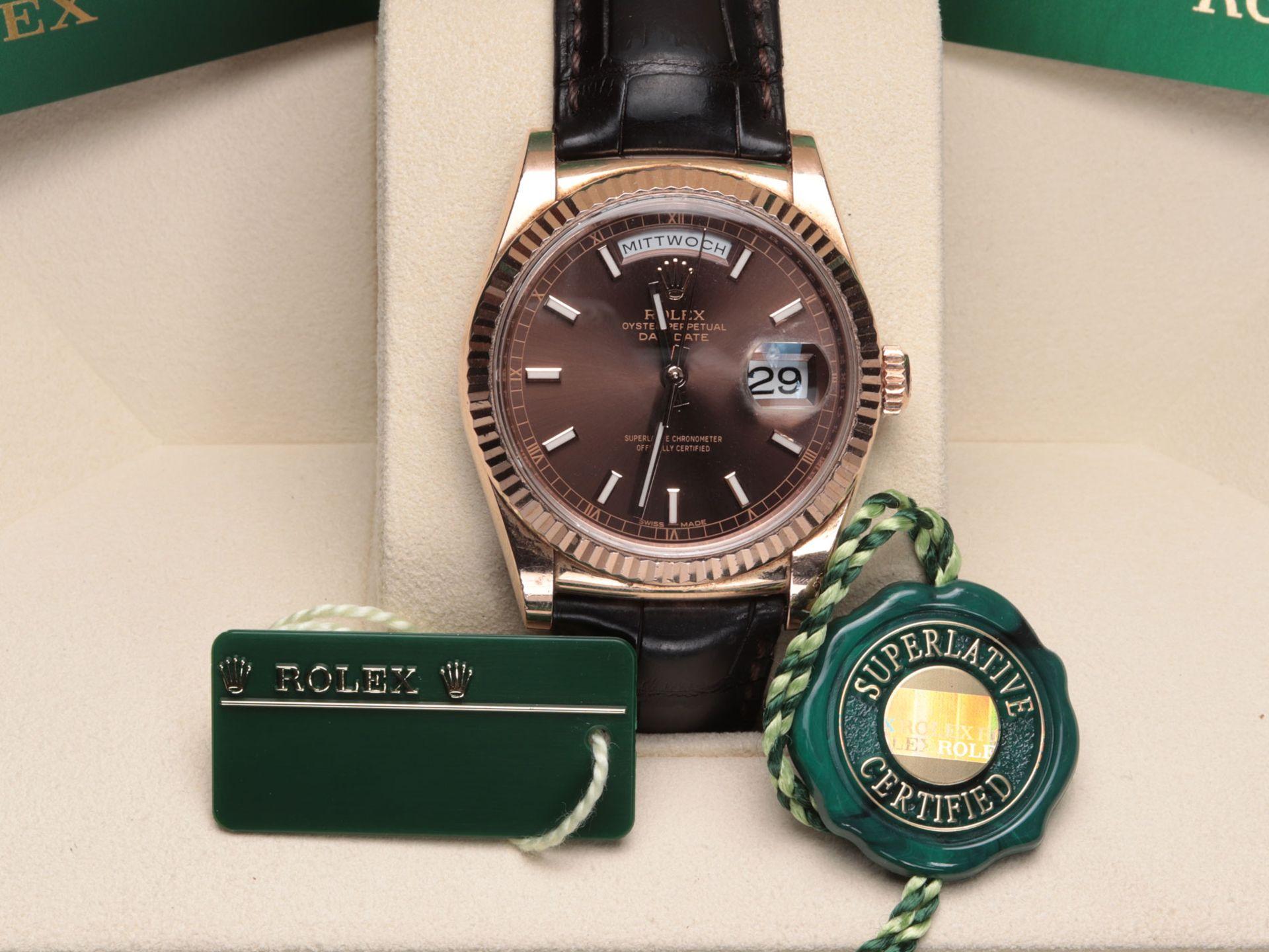 Rolex - Herrenarmbanduhr Roségold 750, Rolex Day-Date Oyster Perpetual, Superlative C - Image 10 of 17