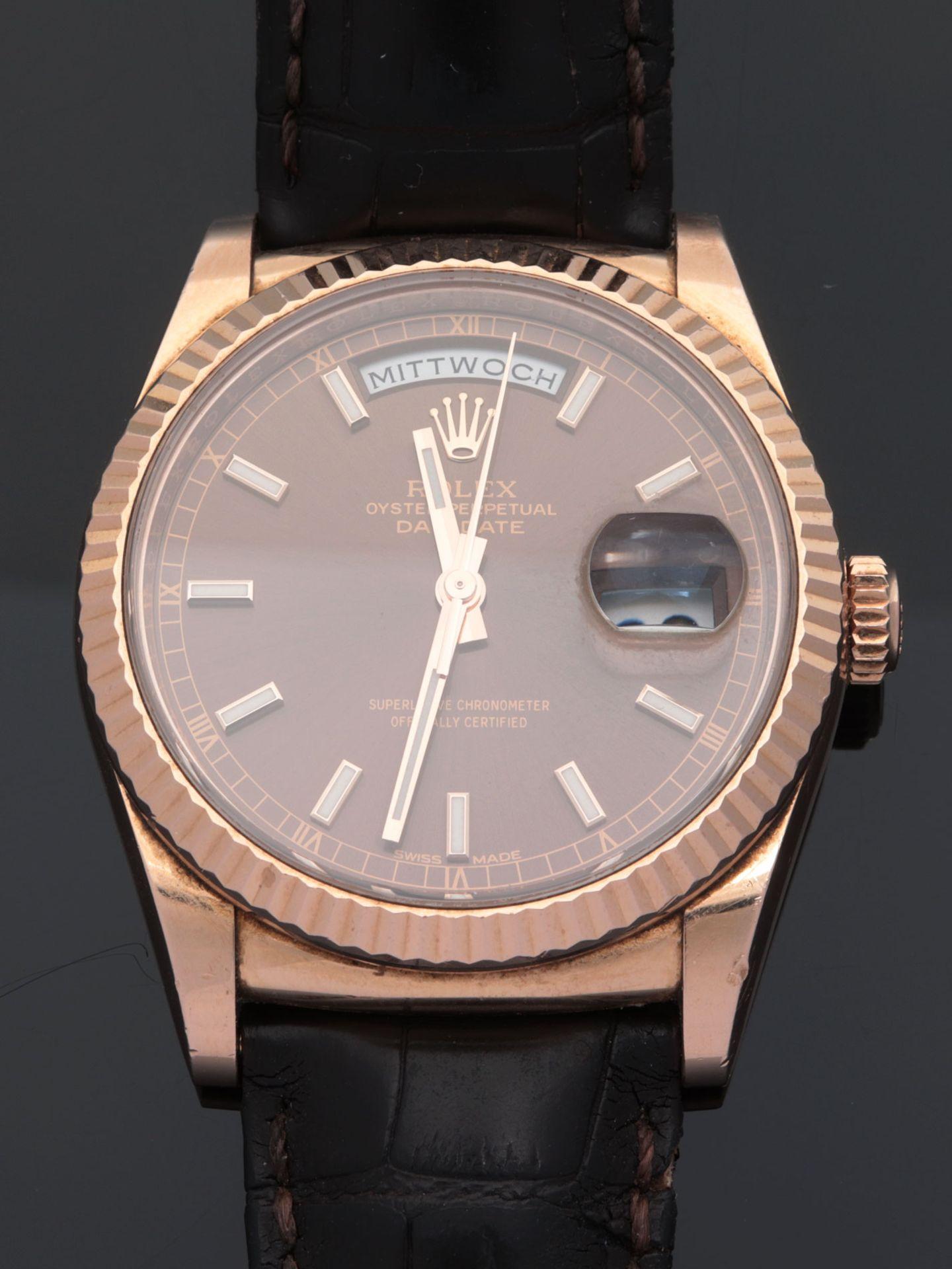 Rolex - Herrenarmbanduhr Roségold 750, Rolex Day-Date Oyster Perpetual, Superlative C - Image 13 of 17