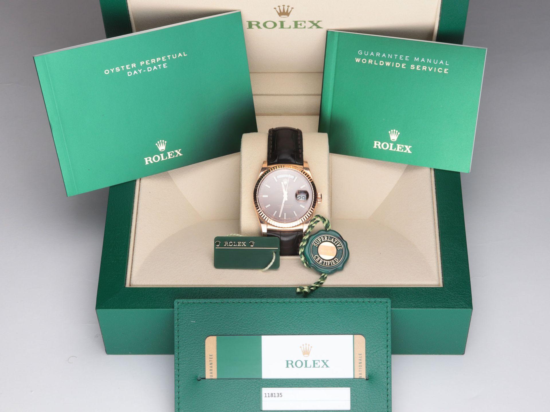 Rolex - Herrenarmbanduhr Roségold 750, Rolex Day-Date Oyster Perpetual, Superlative C - Image 2 of 17