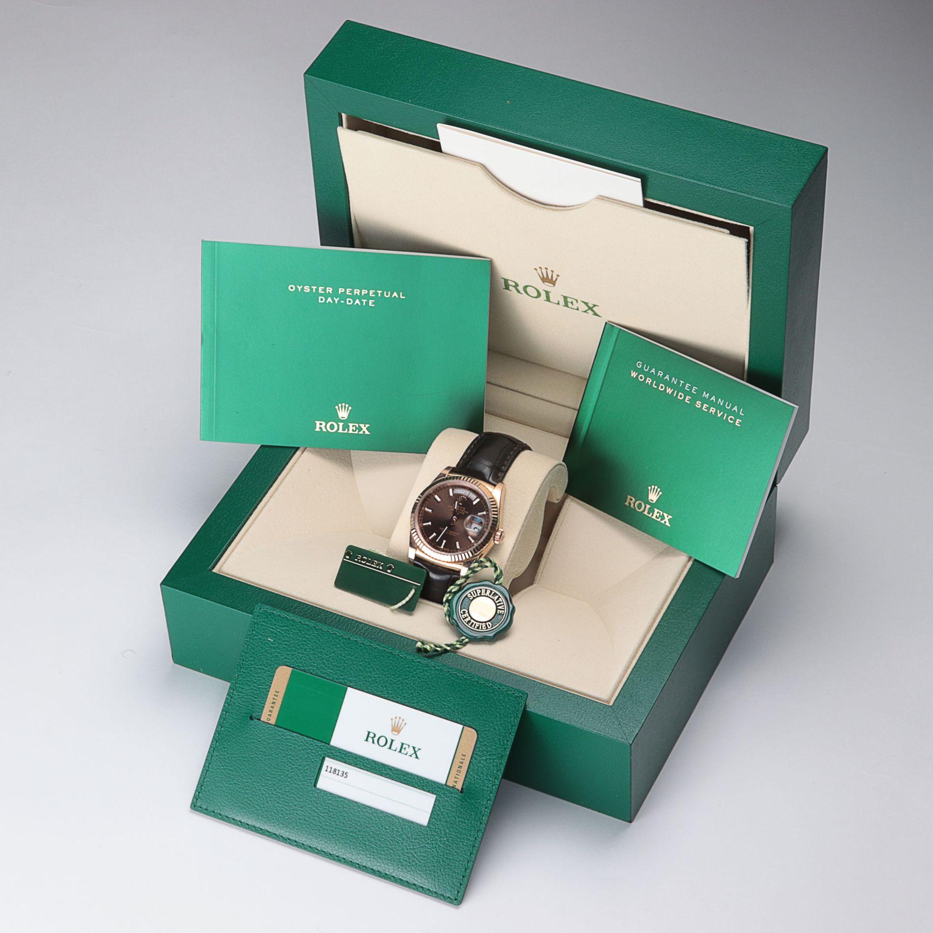 Rolex - Herrenarmbanduhr Roségold 750, Rolex Day-Date Oyster Perpetual, Superlative C