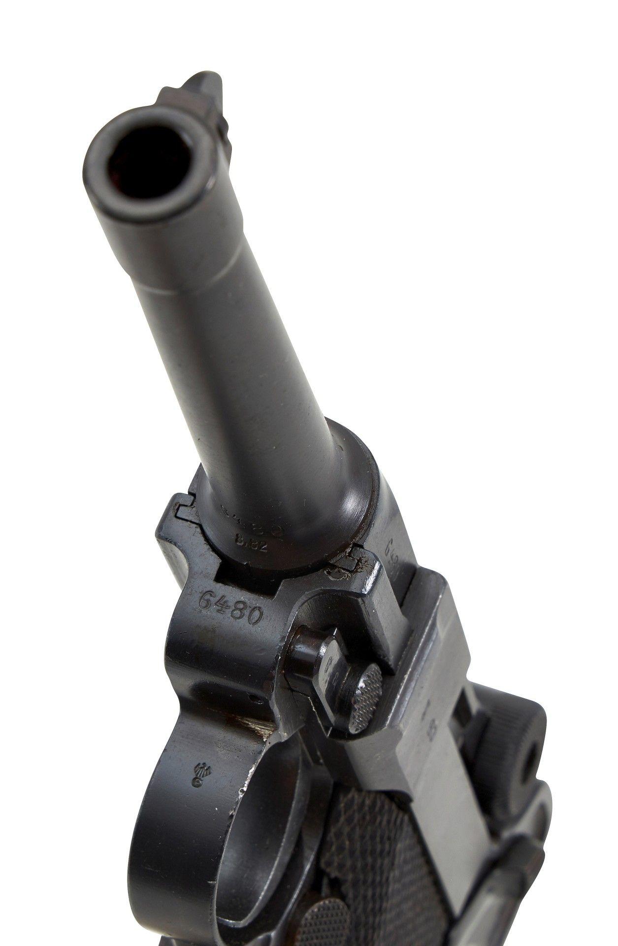 Halbautomatische Pistole Mod.: P. 08 Herst.: SIMSON & Co. SUHL Baujahr: ohne Angabe S.Nr.: 6480 ... - Image 3 of 4