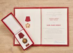 Karl Marx Orden verliehen an den Minister für Staatssicherheit Generaloberst Erich Mielke.