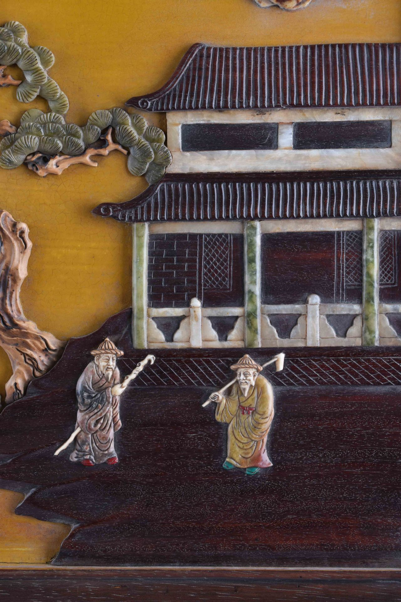 Imposing courtly screen China Qing period, Guangxù? - Image 5 of 9
