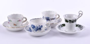 A group of porcelain mocca cups Meissen