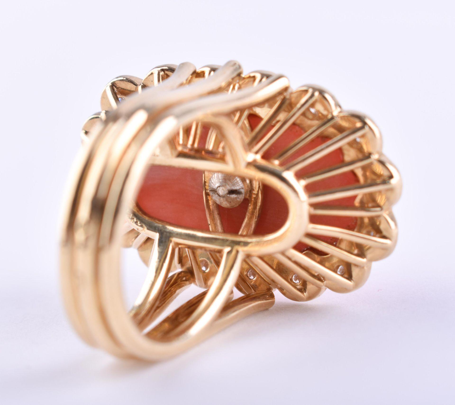 Ladies coral diamond ring Cartier - Image 4 of 4
