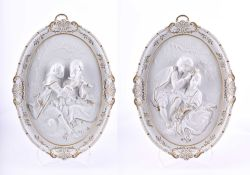 Pair of Dresden picture plates