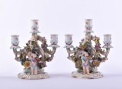 figural pair of candlesticks Meissen 19th century