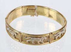 Armband mit Raubkatzen - GG/WG 333 in Gelbgold / Weißgold 333 (8 Karat) gearbeitet un