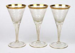 Satz Moser Kristallkelche um 1890/1900 farbloses Kristallglas mundgeblasen und von Han