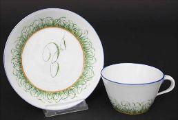 Tasse und UT mit Monogramm / A cup with saucer with monogram, Meissen, Anfang 19. Jh.M