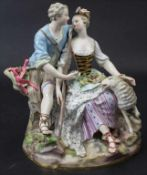 Schäfergruppe / A figural group with a shepherd and a shepherdess, Meissen, 19. Jh.Ma