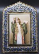 Porzellanbild Damenbildnis / A porcelain picture of a lady, Limoges, Frankreich, 20. Jh.