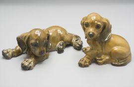 2 Dackel / 2 dachshunds, Georg Küspert, Rosenthal, 20. Jh.