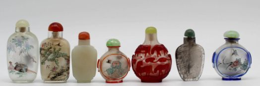7 Snuff Bottles, Glass, stone? Probably China old.