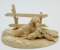Ivory around 1900. Mother dachshund with 2 puppies. Probably Erbach.
