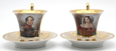 2 Empire portrait cups, Friedrich Wilhelm IV King of Prussia.