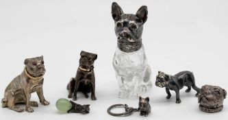 7 figures pug? Partly with silver. Also salt shaker, pillbox.
