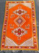 Morocco tribal rug. Approx. 40 - 60 years old.