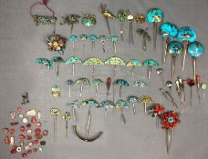 Collection of jewelry, needles, clasps. China proably old.