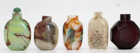 5 snuff bottles, probably glass partially painted. Probably China old.
