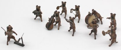 Dog band. 10 small bronzes. Cold painted. Vienna? Up to 4.5 cm high.