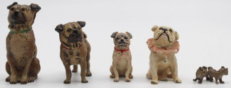 5 pugs. Cold painted bronze, Vienna?