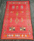 Berber tribal rug. Atlas Mountains Morocco. Around 60 - 100 years old.