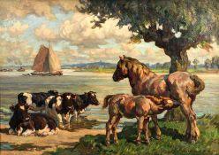 August LÜDECKE-CLEVE (1868 - 1957). ''Am Niederrhein''.