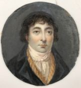 MINIATUR (XVIII / XIX). Portrait eines Herren. Wohl um 1800.