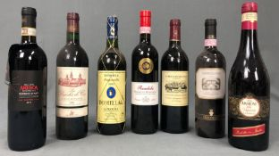 7 whole bottles of red wine 0.75 L. Also Italy, France, South Africa.
