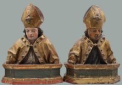 2 sculptures carved wood coloured. Probably 17th century. Germany.