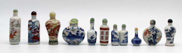 10 porcelain snuff bottles / dispeners. Probably China old.