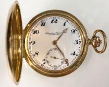 Pocket watch Schaffhausen. 3 lids yellow gold 14 K.