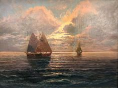Arthur TOMSON (1858-1905). Sailing ships in the sunset.