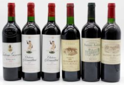 6 whole bottles of Bordeaux red wine, France.