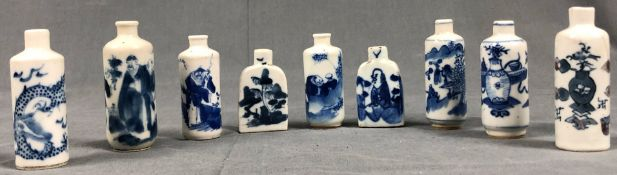 9 porcelain snuff bottles, probably China, old Qing.