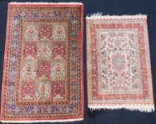Two carpets. Silk. Extremely fine weave. Hand knotted. Silk on silk.