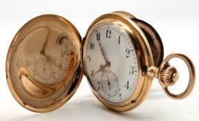 IWC pocket watch, two lids 585 gold.