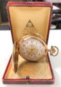 Pocket watch Glashütte. 3 lids yellow gold 14 carat.