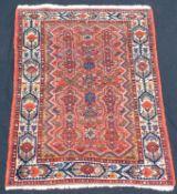 Hamadan Persian carpet. Iran. Antique, around 80 - 120 years old. Natural colors.